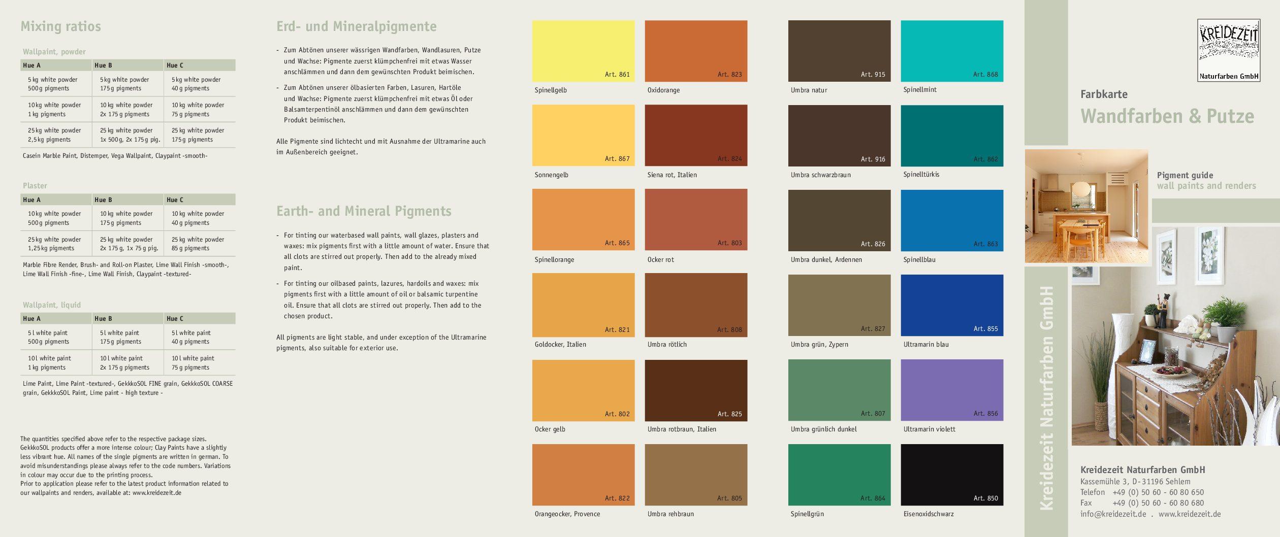 Farbkarte Wandfarben & Putze